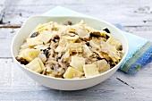 Lazanki (Polish pasta squares) with mushrooms