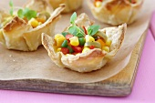 Sweetcorn salad in puff pastry baskets