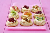 Puff pastry circles topped with fruit and walnuts