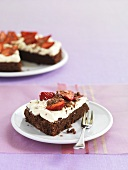 Chocolate cake with strawberries for diabetics