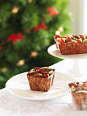 Mini Christmas cakes with dried fruit and nuts