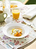 Poached apricots with honey yoghurt
