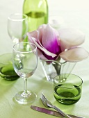 Glasses and flowers for a springtime table