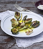 Grilled artichokes with garlic, olive oil and sea salt