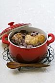 A pot of coq au vin