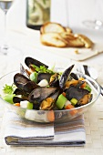 Bouchot mussels with vegetables