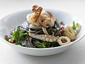 Spaghetti neri ai calamari (Black spaghetti with squid)