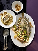 Plaice with shrimps & John Dory with cauliflower & coconut milk