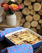 Bread and butter pudding in baking dish