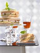 Tandoori chicken and cucumber sandwiches with mint