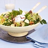 Salade Lyonnaise (Salad leaves, bacon, croutons & poached egg)