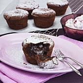 Chocolate puddings with liquid centres