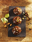 Gingerbread with chocolate icing and candied orange peel