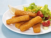 Fish fingers with mixed salad