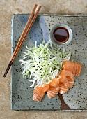 Salmon sashimi with daikon radish