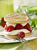 Buttermilk pancakes with raspberries and cream