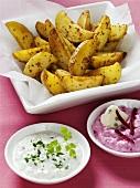 Mustard potatoes with dips (herb dip, beetroot dip)