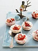 Chocolate and strawberry parfait cakes