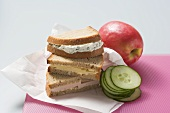 Sandwiches, apple and cucumber for a packed lunch
