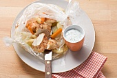 Chicken with spring vegetables cooked in roasting bag