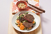 Fillet steak with sweet and sour vegetables