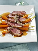 Goose breast on carrots