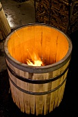 Toasting a wine barrel, Toaneria Concalves, Portugal