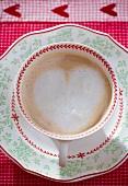 Hot chocolate with a milk foam heart