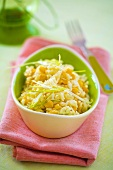 Rice and sweetcorn salad in a bowl