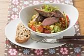 Loin of lamb with lentil salad