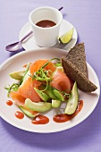 Plate of avocado and salmon
