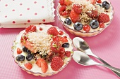 Berry salad with coconut zabaglione