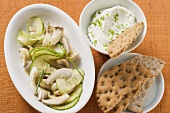 Cucumber and oyster mushroom salad
