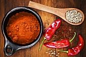 White pepper, chilli powder and chillies