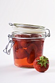 Strawberry jelly in a preserving jar