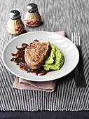 Beef fillet steak with balsamic onions and celeriac puree