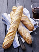 Baguettes and a glass of red wine