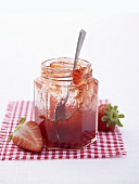 Strawberry jam in jam jar
