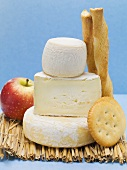 Various cheeses, cracker, savoury sticks and apple