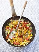 Stir-fried vegetables with sesame seeds