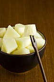 Pieces of melon in a bowl