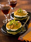 Potato gratin with spinach and goat's cheese