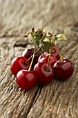 Morello cherries on wooden background