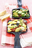 Brussels sprout raclette and ham raclette
