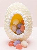 Filled sugar egg for Easter