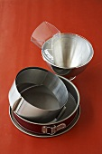 Cake tin, cake ring and mixing bowl