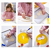 Little girl making snowman tree ornaments from salt dough