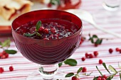 Cranberry jam in a glass bowl