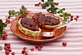 Two slices of bread with cranberry jam