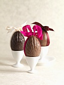 Chocolate eggs with bows